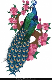 peacock painting colorful classical oriental decor