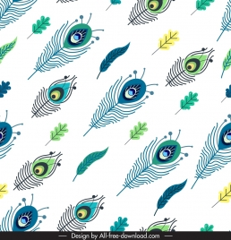 peafowl feathers pattern colorful flat repeating sketch