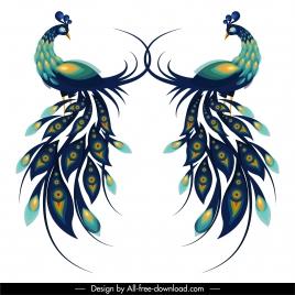 peafowl icons colorful flat symmetric design