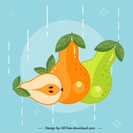 pear fruit icons classical multicolored flat sketch