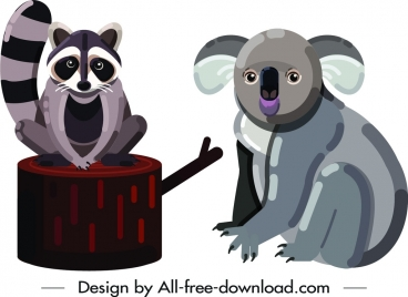 pekan koala wild animals icons cute cartoon characters