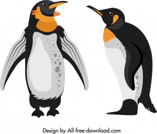 penguin animal icons colored cute cartoon sketch