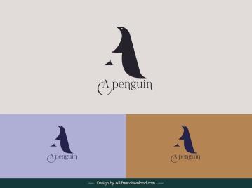 penguin logo template simple flat sketch