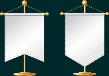 pennant flags templates white blank design