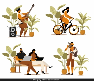 people activities icons guitarist cyclist staff photographer sketch