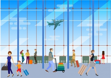 people at airport design in colored style