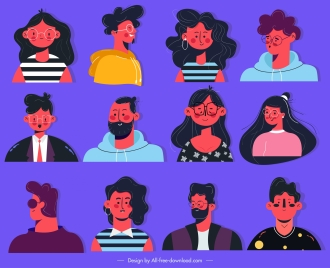 people avatar icons colorful classic design cartoon characters