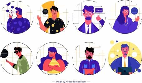 people avatar templates cartoon characters design