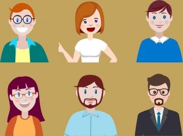 people avatars man woman icons cartoon characters