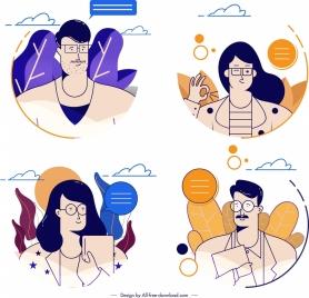 people avatars templates man woman icons cartoon sketch