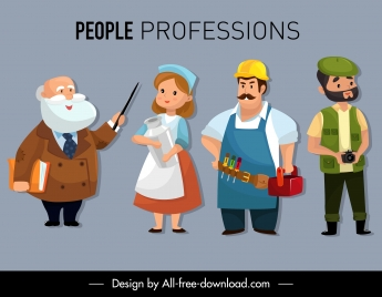 people careers icons professor farmer worker cameraman sketch