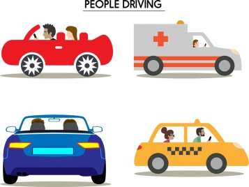 people driving car icons from various sides