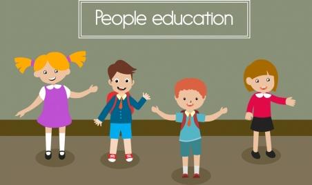 people education banner colored cartoon joyful pupils icons
