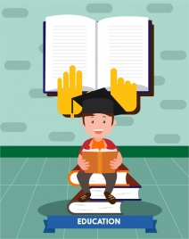 people education concept design boy and books style