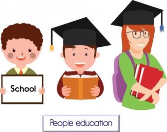 people education icons graduation people style