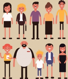 people icons cartoon characters multicolored design