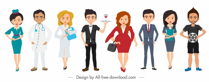 people occupation icons colored cartoon characters design