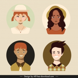 people portrait avatars colored cartoon characters sketch