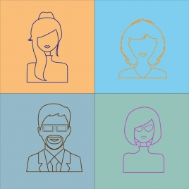people portrait icons outline flat colored design
