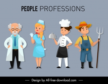 people profession icons colored cartoon characters sketch