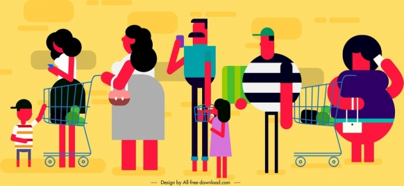 people shopping icons colored cartoon characters sketch