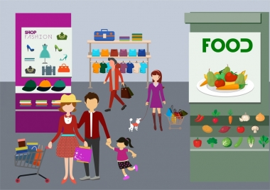 people shopping theme customers and goods display design