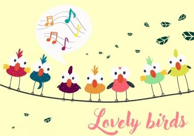 perching birds background multicolored cartoon decor