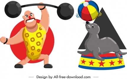 performing athlete seal icons colored cartoon characters