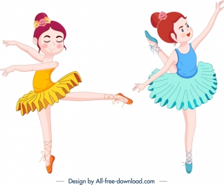 performing ballerina icons colored cartoon characters sketch