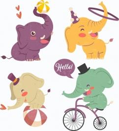 performing elephant icons cute cartoon design