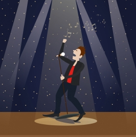 performing male singer icon modern spotlight stage background