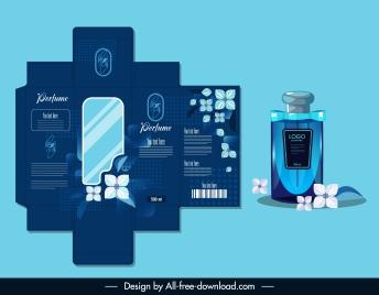 perfume package template luxury blue design flower decor
