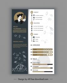 personal cv template astronaut theme contrast decor