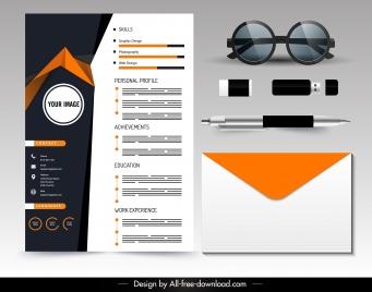 personal cv template modern contrast design 3d decor
