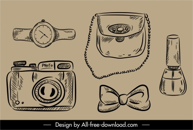 personal objects icons black white retro handdrawn outline