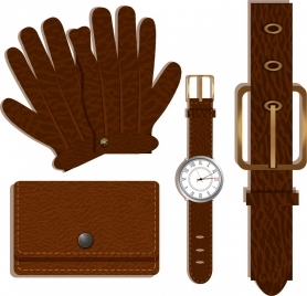 personal utensil icons brown leather design