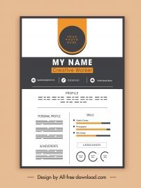 personnel cv template elegant contrast decor modern design
