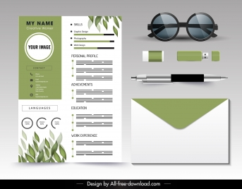personnel resume template green white leaves decor