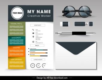 personnel resume template modern colorful bright decor
