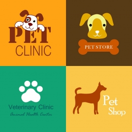 pet clinic pet store logos colorful flat ornament