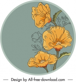 petals label template handdrawn classic outline