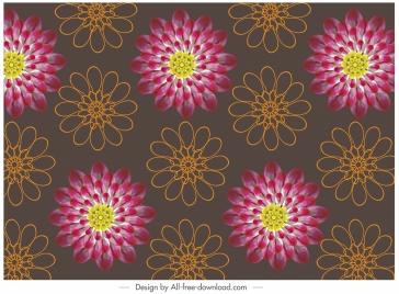 petals pattern blooming sketch repeating design