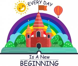 philosophy banner rainbow balloon castle stylized sun icons