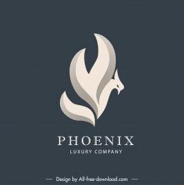 phoenix logotype abstract design swirled sketch