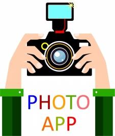 photo app concept design hand and camera illustration