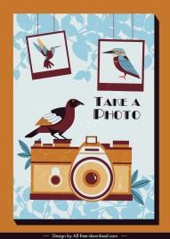 photography background retro design bird camera decor