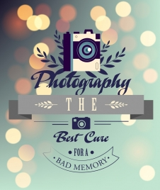 photography banner camera calligraphy sparkling bokeh background