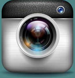 photography camera icon shiny colored realistic design