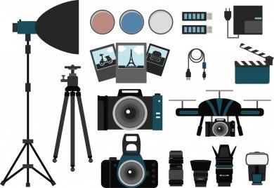 photography concept design various symbols elements isolation