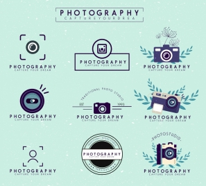 photography logotypes colored flat design